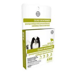 Bayer Quad Dewormer Tablets for Dogs 2-25lbs, 4 pack