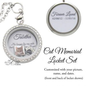 Pet Memorial Jewelry • Floating Locket Set • In Memory of a Cat • Picture Charm • Plate • Customized • Remembrance Necklace – SET455