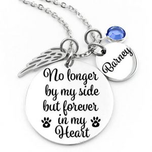 Pet Memorial, Pet Memorial Necklace – No Longer By My Side But Forever In My Heart – Pet Memorial Jewelry – Pet Loss – Sympathy Gift